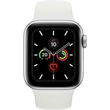 Apple Watch Series5 44mm Silver Aluminium Case with White Sport Band GPS