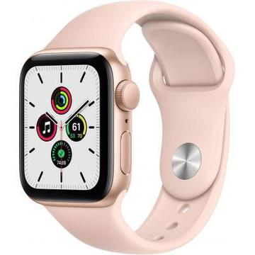 Apple Watch SE GPS, 44mm Gold Aluminium Case with Pink Sand Band (MYDR2UL/A)