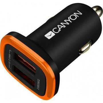 Canyon (2USB, 2.1A) Black (CNE-CCA02B)